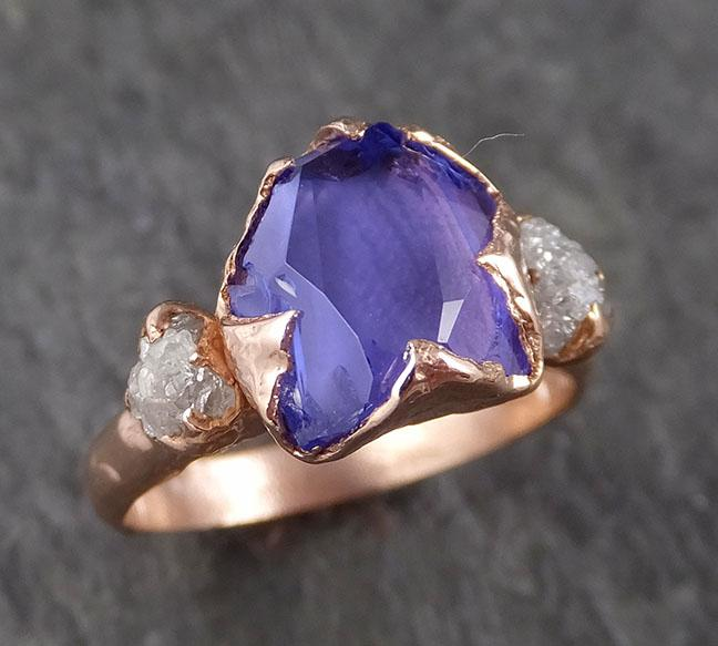 Partially faceted Tanzanite Gemstone diamond 14k Ring Multi stone Wedding Ring Rose gold Ring 1528