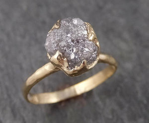 Raw Diamond Engagement Ring Rough Uncut Diamond Solitaire Recycled 14k yellow gold Conflict Free Diamond Wedding Promise 1537
