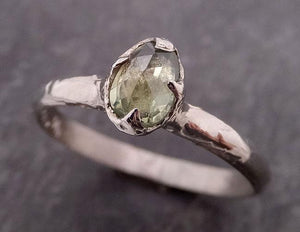 Fancy cut Lime green Sapphire 14k White gold Solitaire Ring Gold Gemstone Engagement Ring 1931
