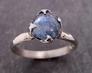 Fancy cut Montana Blue Sapphire 14k White gold Solitaire Ring Gold Gemstone Engagement Ring 1927