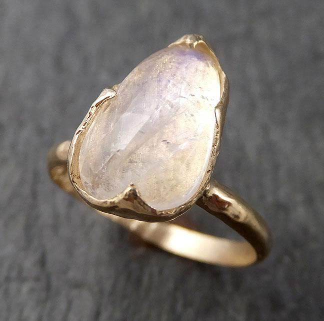 Fancy cut Moonstone Yellow Gold Ring Gemstone Solitaire recycled 14k statement cocktail statement 1530