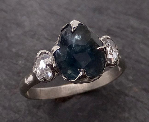 Partially faceted blue Montana Sapphire and fancy Diamonds 18k White Gold Engagement Wedding Ring Custom Gemstone Ring Multi stone Ring 1923