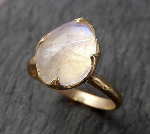 Fancy cut Moonstone Yellow Gold Ring Gemstone Solitaire recycled 14k statement cocktail statement 1531