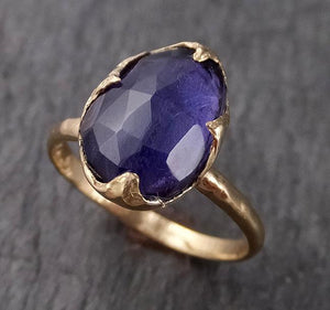 Fancy cut Iolite Yellow Gold Ring Gemstone Solitaire recycled 14k statement cocktail statement 1532