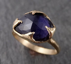 Fancy cut Iolite Yellow Gold Ring Gemstone Solitaire recycled 14k statement cocktail statement 1533