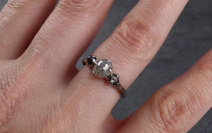 Fancy cut white Diamond Solitaire Engagement 18k White Gold Wedding Ring byAngeline 1157