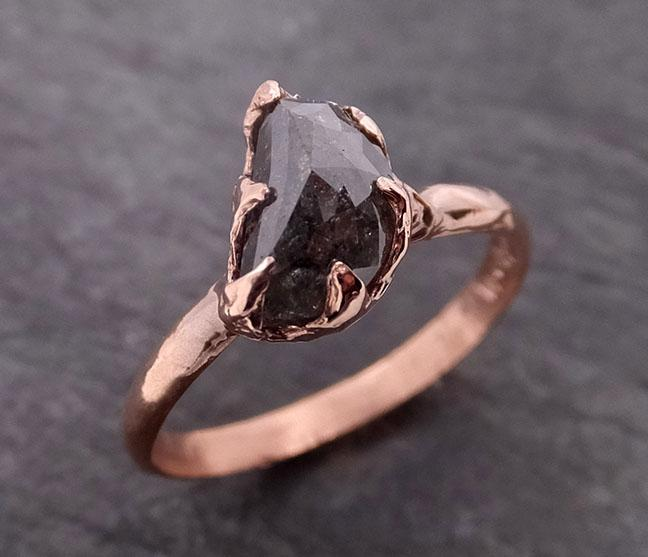 Rough Raw Black Grey Diamond Engagement Ring Raw 14k Gold Wedding Ring Wedding Solitaire Rough Diamond Ring byAngeline 0295