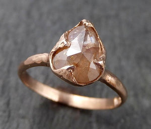 Fancy cut Coral Solitaire Diamond Engagement 14k Rose Gold Wedding Ring byAngeline 1539