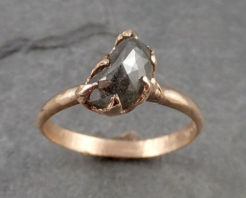 Faceted Fancy cut Salt and pepper Half Moon Diamond Engagement 14k Rose Gold Solitaire Wedding Ring byAngeline 1938