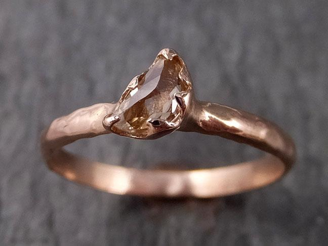 Faceted Fancy cut white Half Moon Diamond Engagement 14k Rose Gold Solitaire Wedding Ring byAngeline 1540