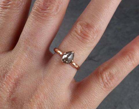 Faceted Fancy cut Salt and Pepper Diamond Solitaire Engagement 14k Rose Gold Wedding Ring byAngeline 1937