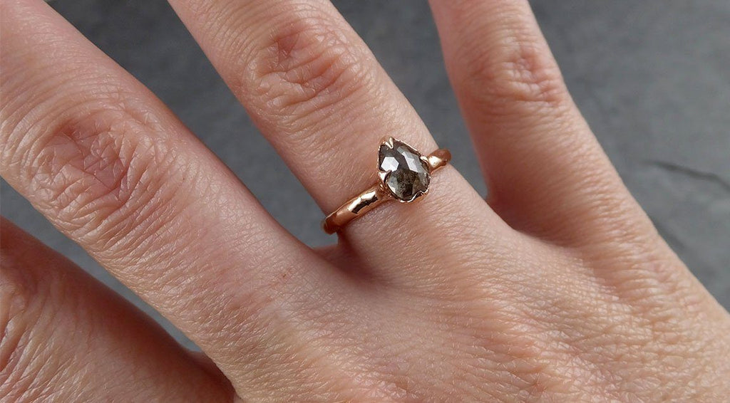 Raw Diamond Solitaire Multi stone Engagement Ring Rough 14k rose Gold Wedding Ring diamond Wedding Set Stacking Ring Rough Diamond Ring byAngeline 0302