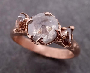 Fancy cut white Diamond Multi stone cognac half moon Diamonds Engagement 14k Rose Gold ring byAngeline 1933