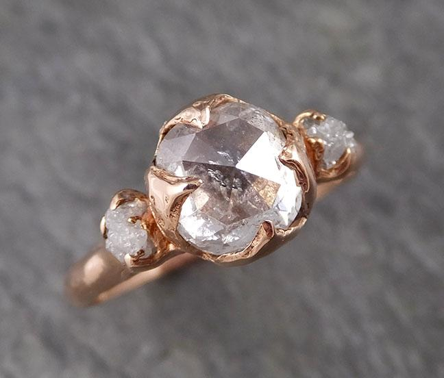 Fancy cut white Diamond Engagement 14k Rose Gold Multi stone Wedding Ring Stacking Rough Diamond Ring byAngeline 1538