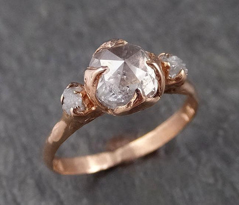 Raw Diamond Solitaire Engagement Ring Rough 14k rose Gold Wedding diamond Stacking Rough Diamond Charcoal Grey byAngeline 0305
