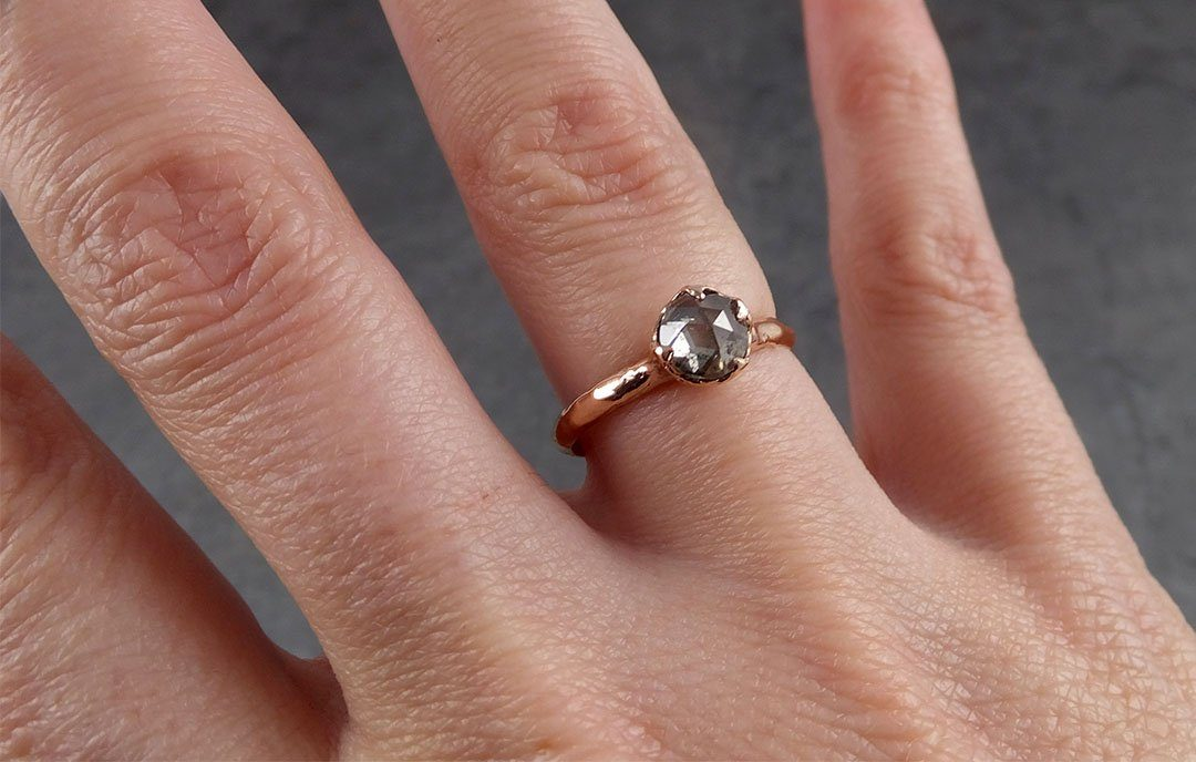 Faceted Fancy cut salt and pepper Diamond Solitaire Engagement 14k Rose Gold Wedding Ring byAngeline 1935
