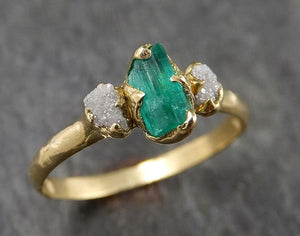 Raw Rough Emerald Conflict Free Diamonds 18k yellow Gold Ring One Of a Kind Gemstone Multi stone Engagement Wedding Ring Recycled gold 1547