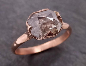 Faceted Fancy cut white Diamond Solitaire Engagement 14k Rose Gold Wedding Ring byAngeline 1934