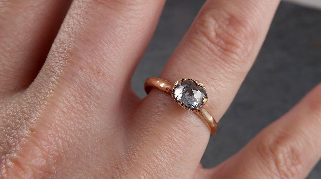 Faceted Fancy cut salt and pepper Diamond Solitaire Engagement 14k Rose Gold Wedding Ring byAngeline 1936
