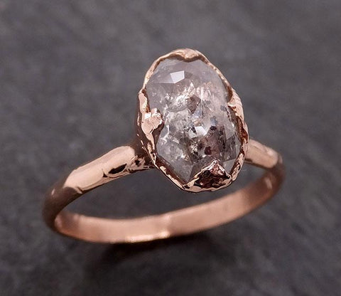 Faceted Fancy cut Salt and Pepper Diamond Solitaire Engagement 14k Rose Gold Wedding Ring byAngeline 1940
