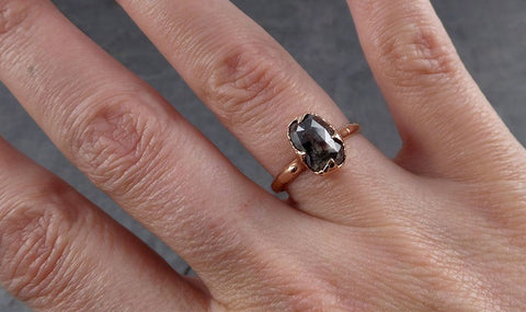 Faceted Fancy cut Salt and Pepper Diamond Solitaire Engagement 14k Rose Gold Wedding Ring byAngeline 1939