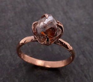 Natural Rough uncut octahedral coral Diamond Solitaire Engagement 14k Rose Gold Wedding Ring byAngeline 1946