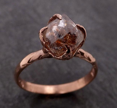 natural uncut octahedral coral Diamond Solitaire Engagement 14k Rose Gold Wedding Ring byAngeline 1946