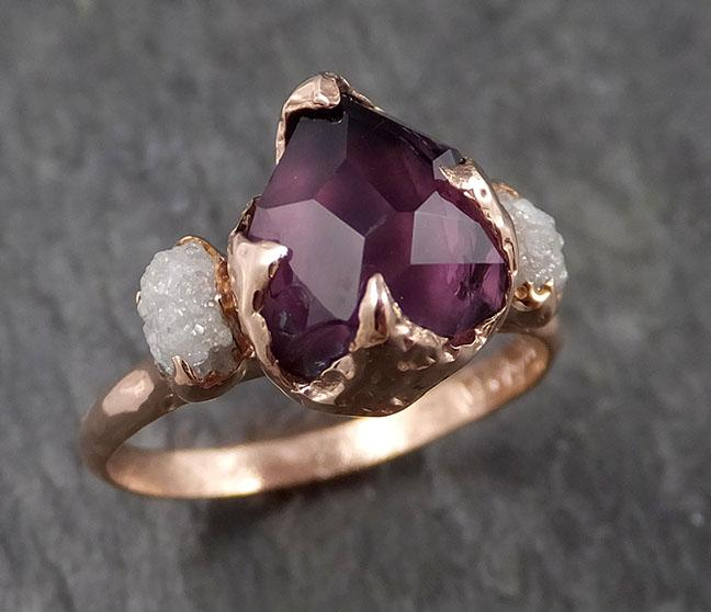 Alternative engagement ring Partially Faceted purple Spinel 14k Rose gold Multi Stone Ring Gold Gemstone 1541