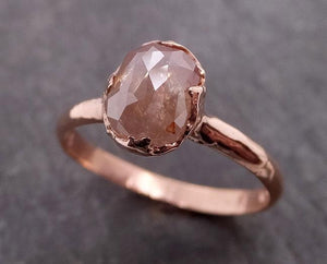 Fancy cut Coral Solitaire Diamond Engagement 14k Rose Gold Wedding Ring byAngeline 1945_exchange