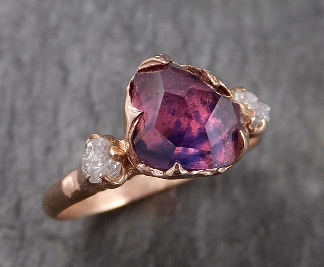 Partially Faceted Sapphire Raw Multi stone Rough Diamond 14k rose Gold Engagement Ring Wedding Ring Custom One Of a Kind Gemstone Ring 1544