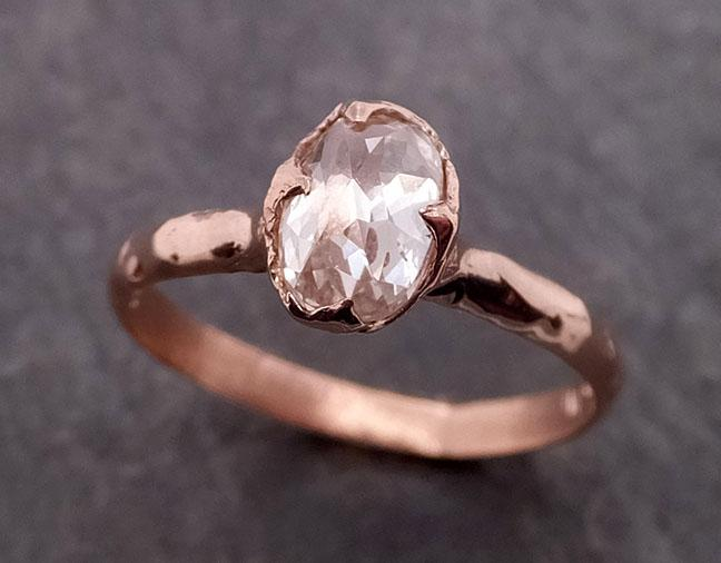 Faceted Fancy cut white Diamond Solitaire Engagement 14k Rose Gold Wedding Ring byAngeline 1941
