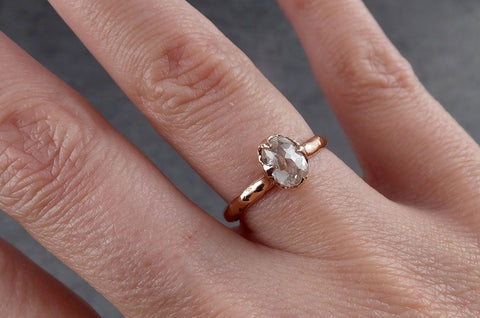 Dainty Raw Rough Uncut Conflict Free Pink Diamond Solitaire 14k Gold Wedding Ring by Angeline 0345
