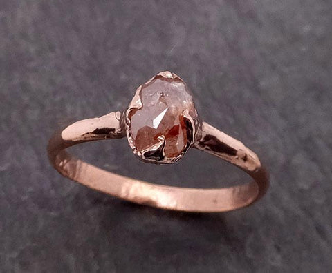 Fancy cut Coral Solitaire Diamond Engagement 14k Rose Gold Wedding Ring byAngeline 1944