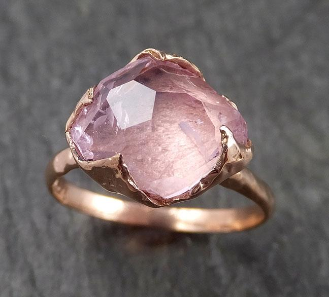 Partially faceted Morganite 14k Rose gold solitaire Pink Gemstone Cocktail Ring Statement Ring Raw gemstone Jewelry byAngeline 1546