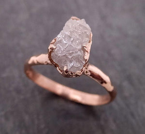 Raw Diamond Solitaire Engagement Ring Rough 14k rose Gold Wedding Ring diamond Stacking Ring Rough Diamond Ring byAngeline 1942