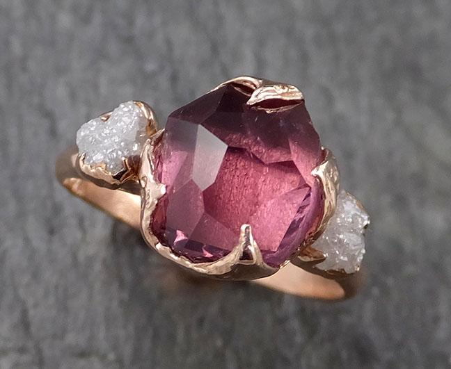Alternative engagement ring Partially Faceted purple Spinel 14k Rose gold Multi Stone Ring Gold Gemstone 1542