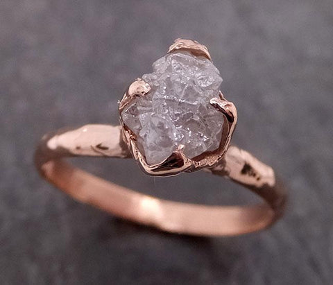 Raw Diamond Solitaire Engagement Ring Rough 14k rose Gold Wedding Ring diamond Stacking Ring Rough Diamond Ring byAngeline 1943
