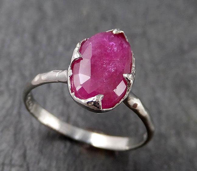 Fancy cut Ruby White 14k Gold Ring Gemstone Solitaire recycled statement cocktail statement 1554