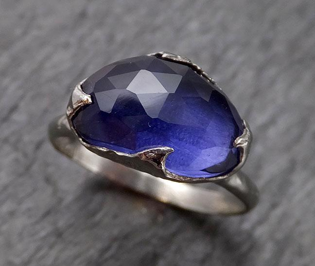 Fancy cut Iolite white 14k Gold Ring Gemstone Solitaire recycled statement cocktail statement 1550