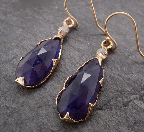 Tanzanite Fancy cut and rough diamond earrings dangle 14k 1962