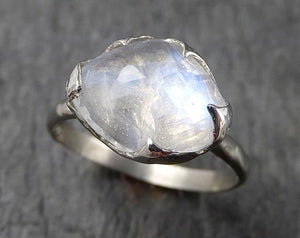 Fancy cut Moonstone White Gold Ring Gemstone Solitaire recycled 14k statement cocktail statement 1552