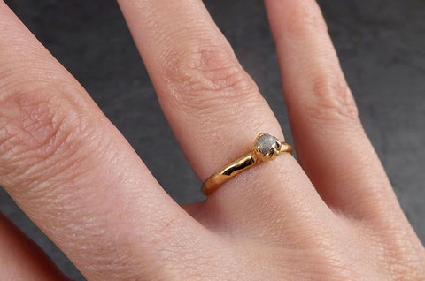 Dainty Raw Rough Uncut Conflict Free Diamond Solitaire 14k Gold Wedding Ring by Angeline 1948