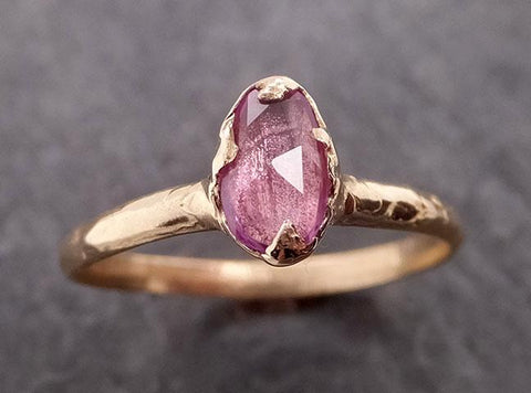 Fancy cut Pink Sapphire 14k gold Solitaire Ring Gold Gemstone Engagement Ring 1953