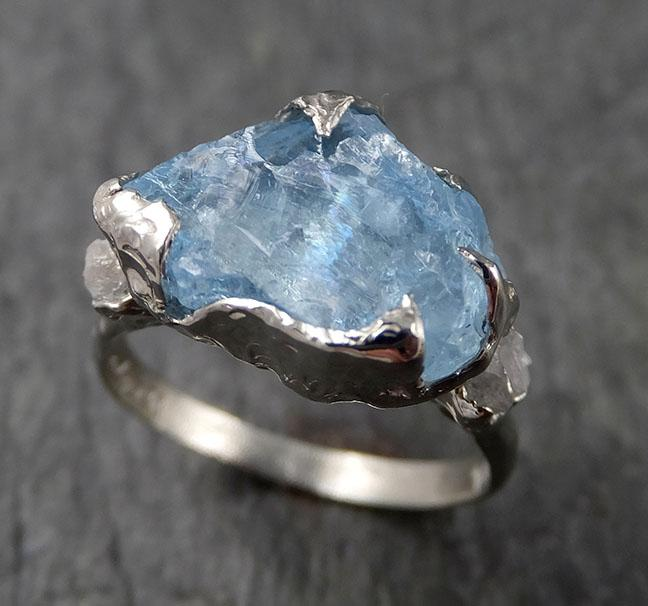 Raw Rough and Aquamarine Diamond 14k White Gold Multi stone Ring One Of a Kind Gemstone Ring Recycled gold 1556