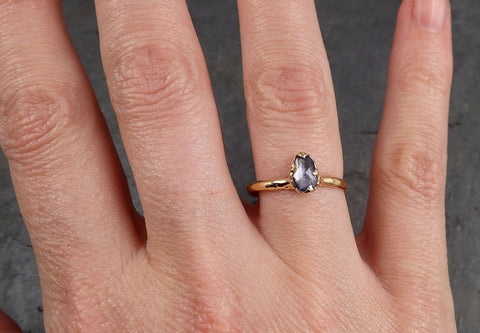 Fancy cut Blue Sapphire 14k gold Solitaire Ring Gold Gemstone Engagement Ring 1949