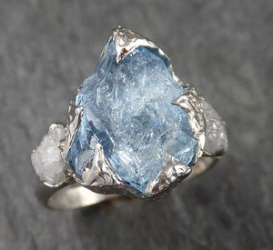 Raw Rough and Aquamarine Diamond 14k White Gold Multi stone Ring One Of a Kind Gemstone Ring Recycled gold 1555