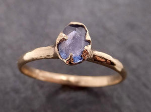 Fancy cut Blue Sapphire 14k gold Solitaire Ring Gold Gemstone Engagement Ring 1950