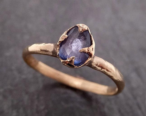 Fancy cut Blue Sapphire 14k gold Solitaire Ring Gold Gemstone Engagement Ring 1952