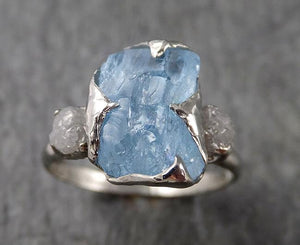 Raw Rough and Aquamarine Diamond 14k White Gold Multi stone Ring One Of a Kind Gemstone Ring Recycled gold 1557