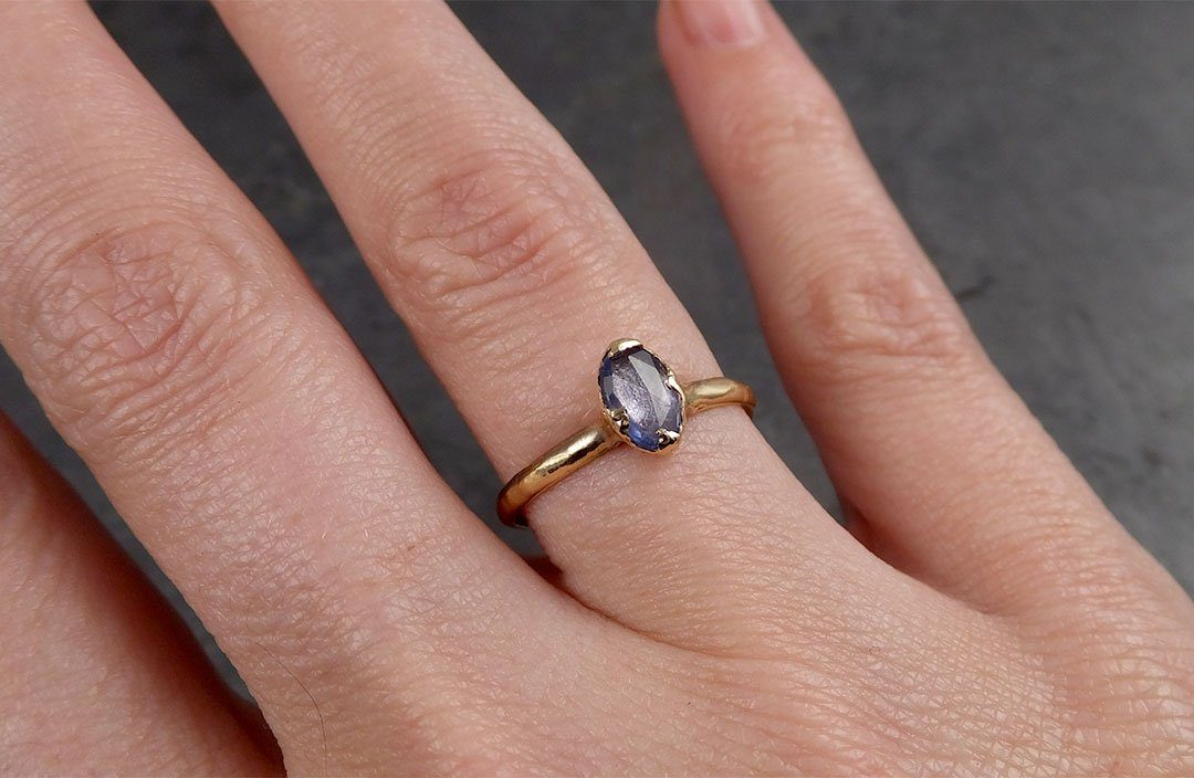 Fancy cut Blue Sapphire 14k gold Solitaire Ring Gold Gemstone Engagement Ring 1951